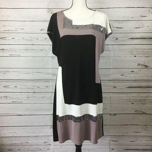 Venus Color-Block Sequins Dress, Size XL